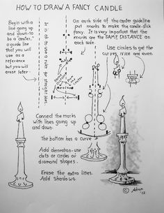 Worksheet for how to draw a candle. An easy drawing lesson for young artist. Drawing Skills, Drawing Lessons, Drawing Techniques, Art Lessons, Art Drawings Sketches, Easy Drawings, Pencil Drawings, Doodle Drawing, Painting & Drawing