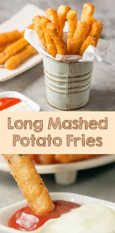 Long mashed potato fries are creative modification between mashed potato and french fries that went viral in some places. It's delicious and addicting at the same time! Easy Appetizer Recipes, Snack Recipes, Cooking Recipes, Yummy Recipes, Recipies, Healthy Recipes, Fried Potatoes, Mashed Potatoes, Creative Snacks