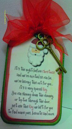 via Etsy. Christmas Makes, Handmade Christmas, Christmas Holidays, Christmas Ideas, Christmas Decorations, Christmas Ornaments, Magic Santa, Santa Key, Holiday Fun