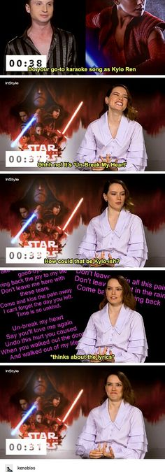 Daisy Ridley's 'Oops, spoiler territory' moment during an interview. Daisy Ridley, Kylo Ren, Reylo, The Last Jedi. Credit to Kenobios on tumblr. [DON'T DELETE DESCRIPTION, PLEASE]