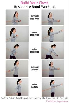 Fitness Motivation : Resistance band workout that is perfect to build up muscle and definition in the Best Chest Workout, Chest Workouts, Easy Workouts, At Home Workouts, Home Chest Workout, Chest Exercises, Yoga Workouts, Sport Fitness, Muscle Fitness