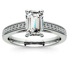 Overwhelmed with the number of engagement ring choices available? You can never go wrong with a Pave Cathedral Emerald-cut Diamond Ring in White Gold!  http://www.brilliance.com/engagement-rings/pave-cathedral-diamond-ring-white-gold-1/4-ctw