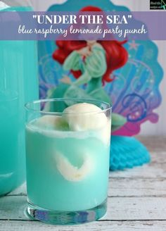 "DIY The Little Mermaid Party Idea! ""Under the Sea"" Blue Raspberry Lemonade Sherbet Party Punch Recipe birthday girl princess blue"