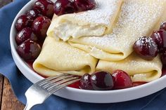 Breakfast Recipe: Baked Ricotta Blintzes with Fresh Cherry Sauce — Recipes from The Kitchn | The Kitchn