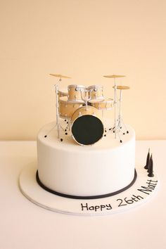 "Drum kit birthday cake | 9"" chocolate mud cake finished… | Flickr"
