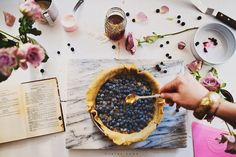 Banana jam and blueberry chai pie Claire Gunn