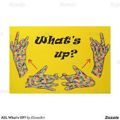 ASL What's UP? Wood Wall Art