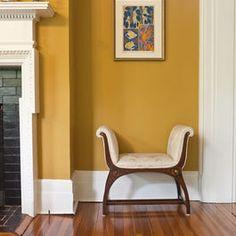 Mustard Walls with white trim (basement)