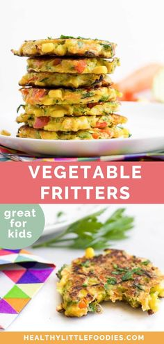 These Vegetable Fritters are a great finger food for babies, toddlers and big kids. Loved by adults and kids alike, they are an easy and fun way to add more vegetables to a meal. Enjoy as a savoury breakfast, pack into a school lunch or include them as part of a family dinner.  #fritters Picky Toddler Meals, Toddler Finger Foods, Kids Meals, Toddler Dinners, Toddler Lunches, Baby Meals, Toddler Food, Family Meals, Toddler Vegetables