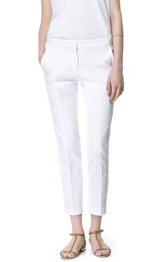 Image 2 of CROPPED JACQUARD PATTERN TROUSERS from Zara