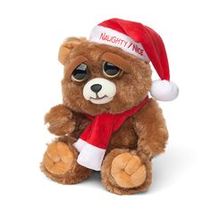 """A holiday Feisty Pet, this adorable teddy bear wears a little scarf and a Santa hat that reads """"Naughty/Nice."""" And he's definitely on both lists. You see, when you squeeze the back of his head, his eyes shift and he bares his teeth. Christmas Animals, Christmas Stuff, Baby Shower Niño, Santa Hat, Unique Gifts, Geek Stuff, Teddy Bear, Animation, Ferrets"""