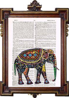 INDIAN ART ELEPHANT Colorful Upcycled Art Print by TreasuresByUs