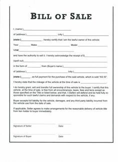 Bill Of Sale Form Template Bill Of Sale Car Bill Of Sale Template