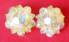Vintage Gold-tone Vanilla Light Yellow AB Crystal Clip On Earrings Marked Lisner #Lisner #Cluster
