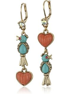 "Betsey Johnson ""Betsey's Delicates"" Bird and Heart Double Drop Mismatch Earrings ❤ Betsey Johnson Jewelry"