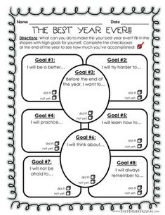 Goal Setting: The Best Year Ever! - What can you do to make this your best year ever? Fill in the shapes with high goals for yourself. Complete the check boxes at the end of the year to see how much you've accomplished! Awesome activity for the beginning Beginning Of The School Year, The New School, New School Year, First Day Of School, Middle School, Goal Setting Activities, New Years Activities, Back To School Activities, Work Activities