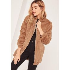 Missguided Brown Hooded Faux Fur Bomber Jacket ($41) ❤ liked on Polyvore featuring outerwear, jackets, camel, bomber jacket, faux fur bomber jacket, faux fur jacket, beige jacket and fake fur jacket