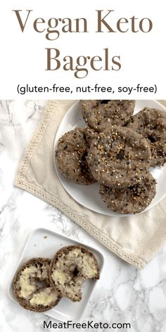 Vegan Keto Bagels - These vegan keto bagels are a low carb gluten-free egg-free nut free and dairy-free way to enjoy breakfast They toast up nicely and hold toppings quite well Vegan Bagel, Vegan Keto Diet, Vegan Keto Recipes, Vegan Bread, Vegetarian Keto, Low Carb Recipes, Ketogenic Diet, Free Recipes, Ketogenic Desserts