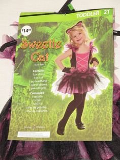 Sz 2T Toddler Sweet Kitty Cat Costume Black Pink Dress Tail Headpiece Gloves New #CompleteCostume
