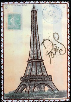 Eiffel Tower postcard Vintage by DesignCracker, via Flickr