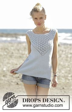 Crashing Waves - Knitted top with raglan and lace pattern, worked top down in DROPS Cotton Light. Sizes S - XXXL. - Free pattern by DROPS Design Summer Knitting, Free Knitting, Knitting Needles, Drops Patterns, Lace Knitting Patterns, Womens Sleeveless Tops, Drops Design, Work Tops, Top Pattern