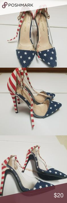 American Flag Heels Cute heel American Flag pattern on heel and toe Clear on the sides Strap around ankle  Over 4 in height Worn but still great Shoes Heels