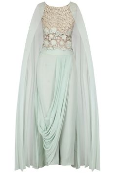 Aqua blue dori thread embroidered cape sleeves top with powder blue cowl draped pants available only at Pernia's Pop Up Shop.
