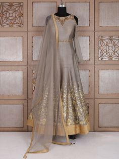 Shop Grey silk party alluring anarkali suit online from India. Brand - Product code - Price - Color - Grey, Fabric - Silk, Personally, I don't like the cold shoulder cut in general otherwise this is quite an elegant dress. Indian Gowns, Indian Attire, Indian Wear, Indian Outfits, India Fashion, Ethnic Fashion, Mode Bollywood, Anarkali Dress, Types Of Dresses