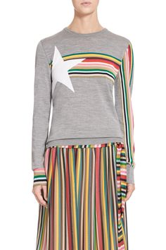 Multicolour wool silk sweater with star