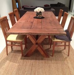 Country look recycled timber table
