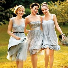 Mix and Match short bridesmaid dresses (pair with yellow bouquets)
