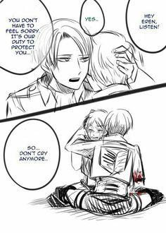 Levi, Eren, yaoi, EreRi, RiRen, sad, crying, text, comic, arm, blood, hugging; Attack on Titan
