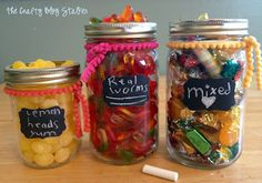 I love these candy jars!  Can make with items I have on hand!  Awesome! ♥ www.thecraftyblogstalker.com