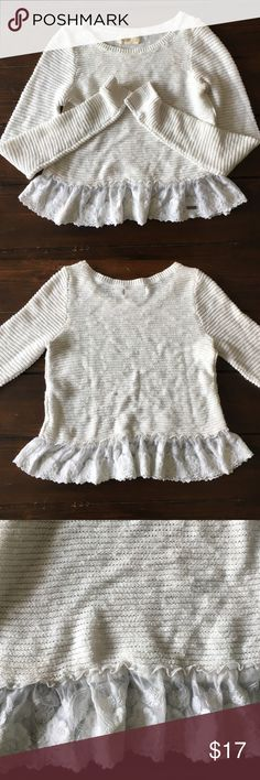 Cute White Lacey Sweater I'm honestly not sure if it's cropped or just small on me. It is a size small and has a cute lace fringe at the bottom. Feel free to make an offer :) Hollister Sweaters Crew & Scoop Necks