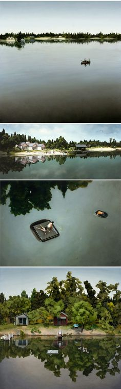 "miniature dioramas that have been meticulously set up and then painted, from a series titled ""At the Lake"" by artist Amy Bennett"