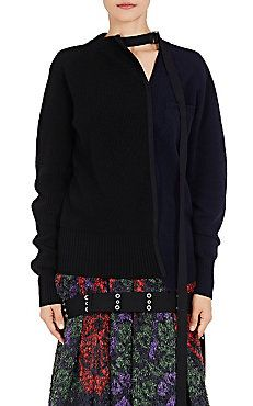 Belted-Neck Colorblocked Sweater