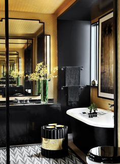 Elegant Masculine Black & Gold Bathroom by John Jacob Interior
