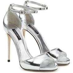 Dolce & Gabbana Metallic Leather Stiletto Sandals (€407) ❤ liked on Polyvore featuring shoes, sandals, heels, dolce & gabbana, scarpe, silver, open toe heel sandals, silver metallic sandals, open toe shoes and metallic heeled sandals