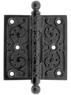 "Victorian Door Hinges. 3 1/2"" Black Iron Ball Tip Hinge With Decorative Vine Pattern."