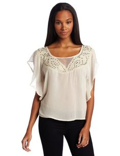 Willow & Clay Women's Embellished Neck Blouse: Amazon.com: Clothing