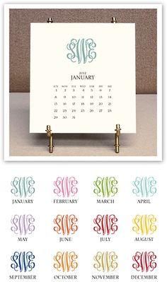 Monogrammed 2012 Desk Calendar and Easel