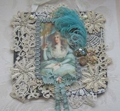 Elegant Shabby Chic Wall Hanging/Collage - Antique Postcard - Antique Trims