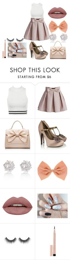 """""""Mellie"""" by afia-asamoah ❤ liked on Polyvore featuring Chicwish, Forever New, Lanvin, River Island, Maybelline, bows, girly, feminine and effiminate"""