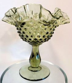 Vintage Fenton Glass Compote Green Hobnail Ruffled Footed Pedestal Hand Blown