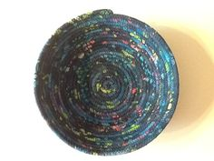 Navy Blue Batik Coiled Rope Bowl Fabric Bowl by Clothstitched