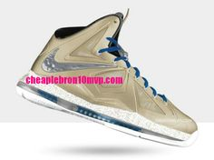 Lebron 10s for Cheap Lebron James X Sneakers Metallic Silver Gold Navy