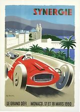 Vintage Cars 1990 Synergie Monaco Grand Prix Ad Fine Art Print - Features: Fine art giclee print on heavy archival paper Unique vintage design Archival quality ink to last a lifetime Made in the USA SHIPS IN DAYS Vintage Race Car, Vintage Travel, Gp F1, Monaco Grand Prix, Racing Events, Car Posters, Travel Posters, Sports Posters, Motorcycle Art