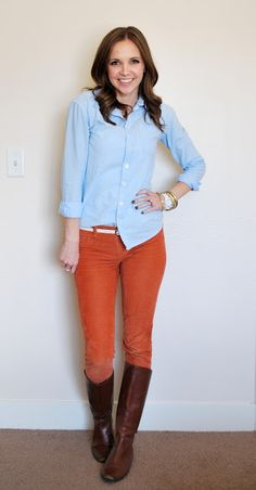 Denim shirt & orange cords