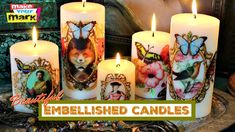 Embellish candles with Marabu Candle Liner Paints!  They're made just for wax!  #marabu #markmontano #makeyourmark #candles