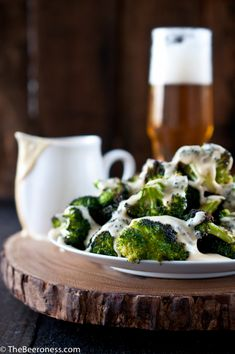 Roasted Broccoli with Beer Cheese Sauce. AKA the best broccoli ever.
